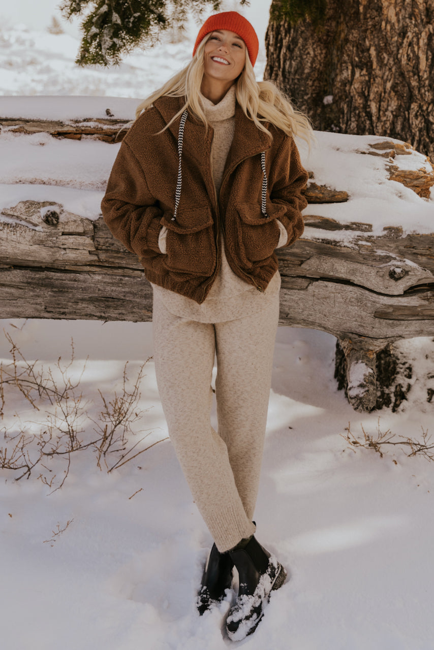 Brown Oversized Teddy Coat | ROOLEE