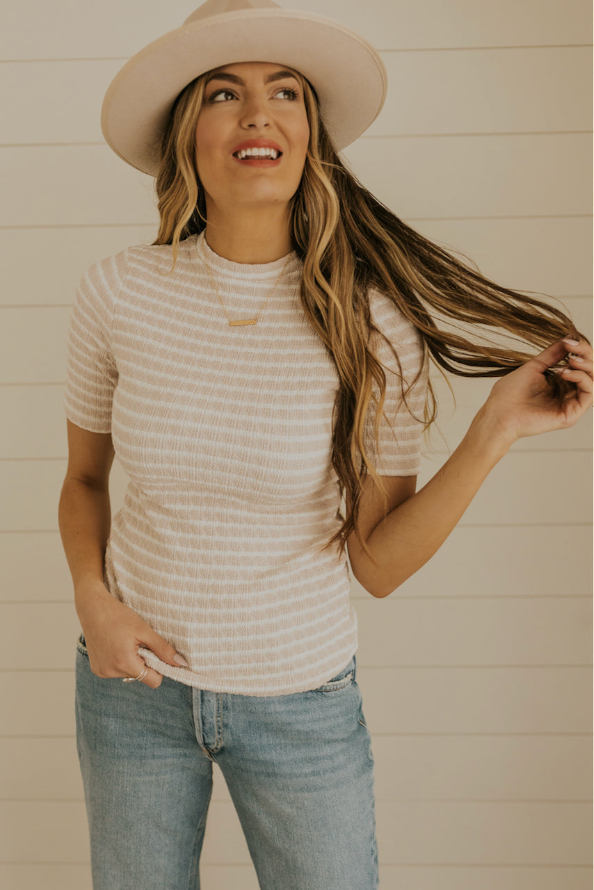 Beige Striped Top | ROOLEE