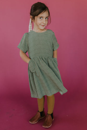 Green and White Polka Dot Girls Dress | ROOLEE