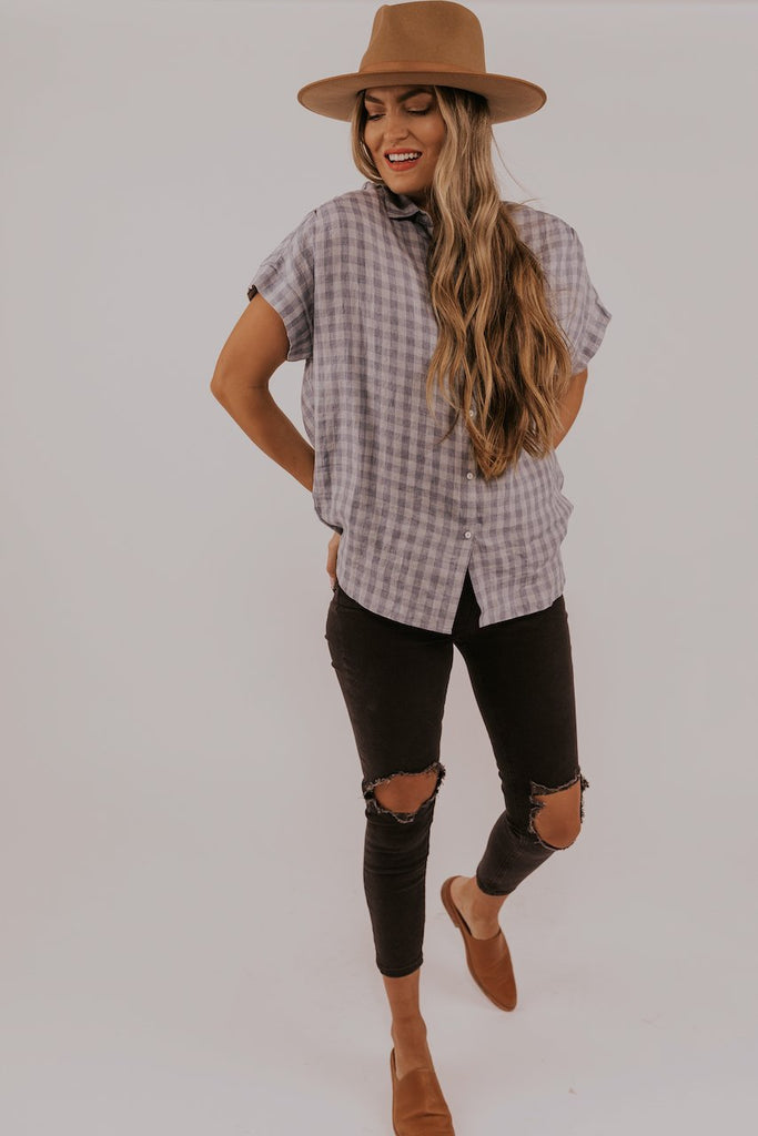 Light Blue Checkered Button Top | ROOLEE