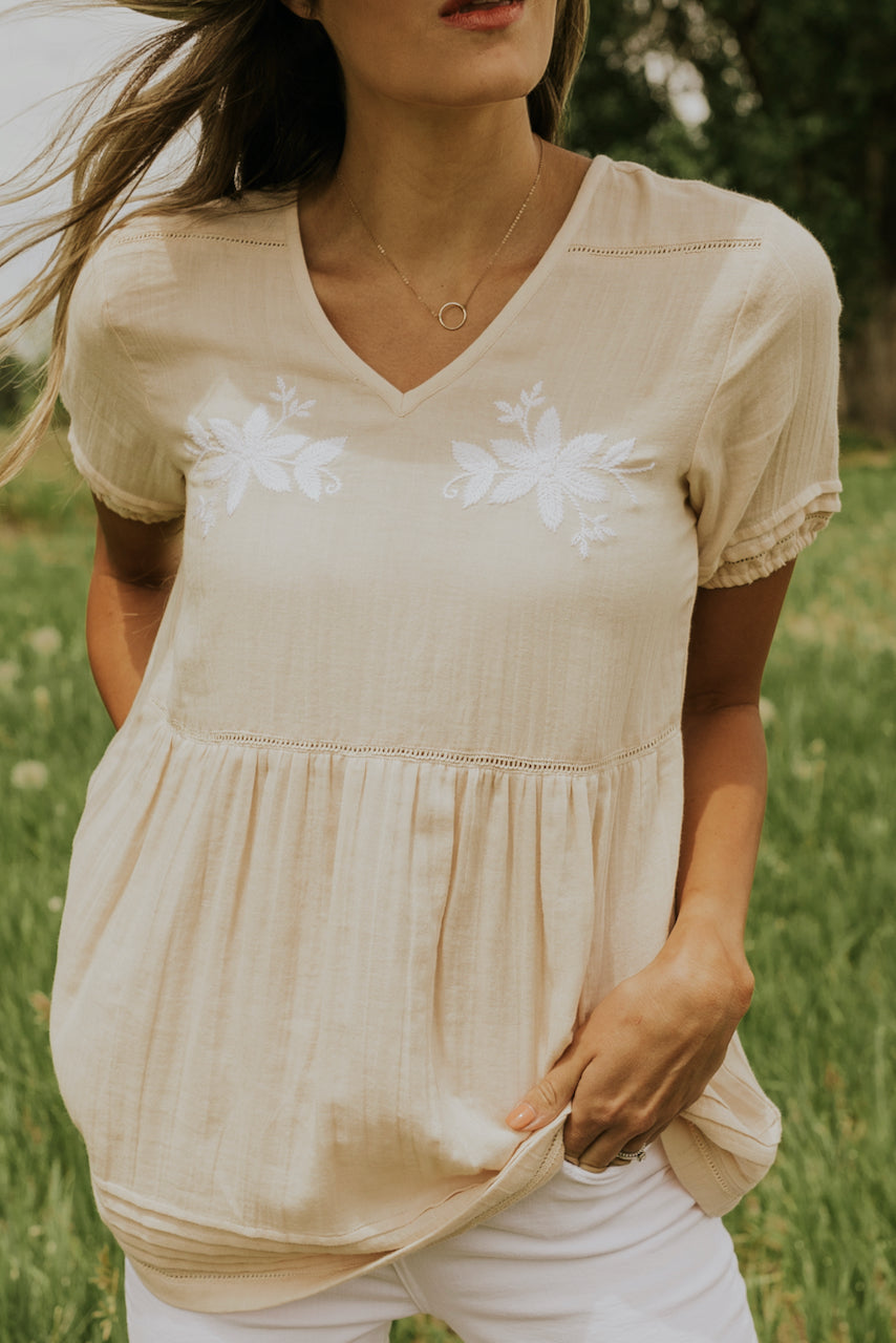 Soft cream blouses for women | ROOLEE