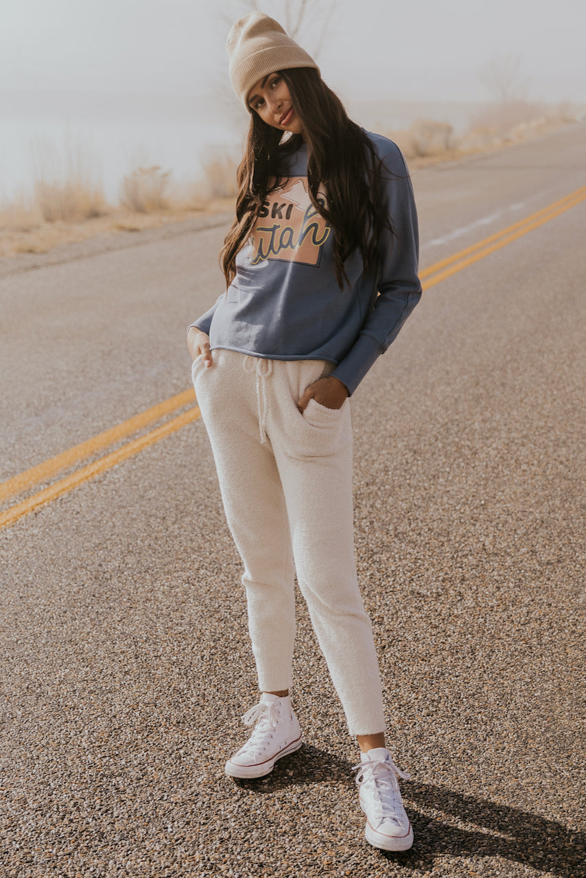Simple cream joggers for winter | ROOLEE