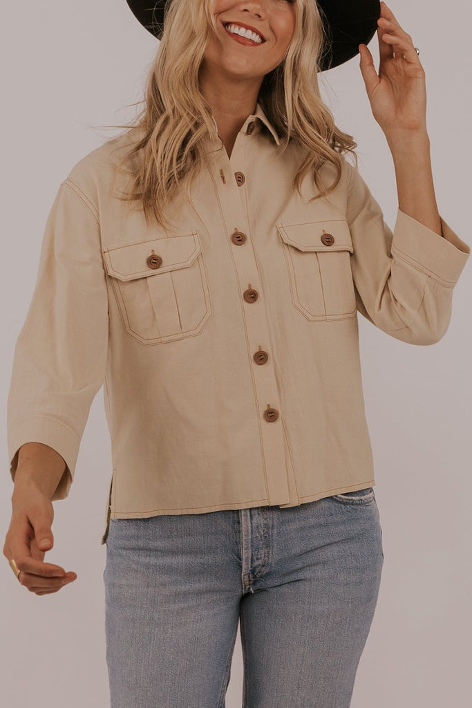 Cream button up top | ROOLEE