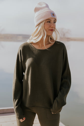 Slouchy gray pullover top sets | ROOLEE