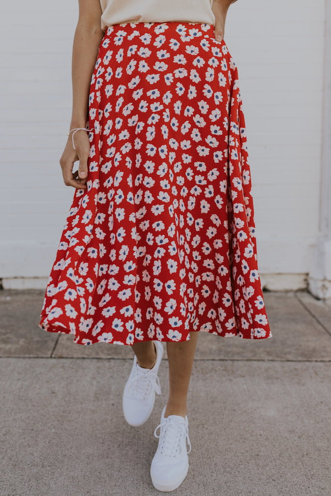 Red floral summer skirt | ROOLEE