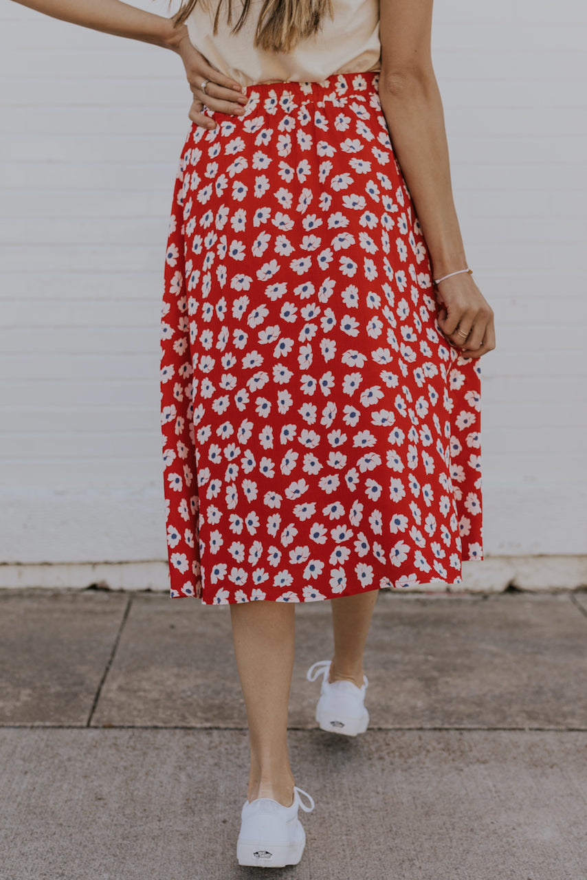 Elastic waist red skirt | ROOLEE