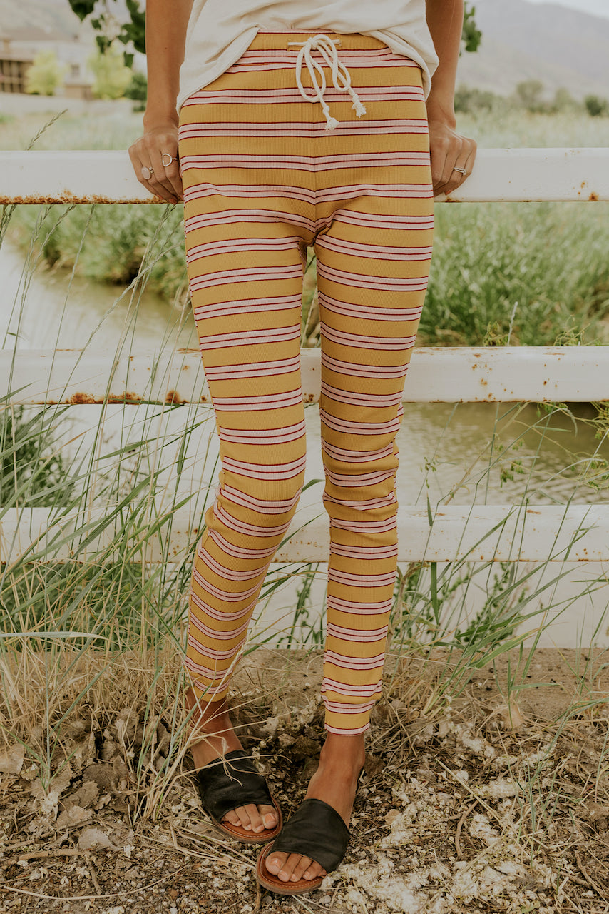 Striped Mustard Pajama Bottoms | ROOLEE