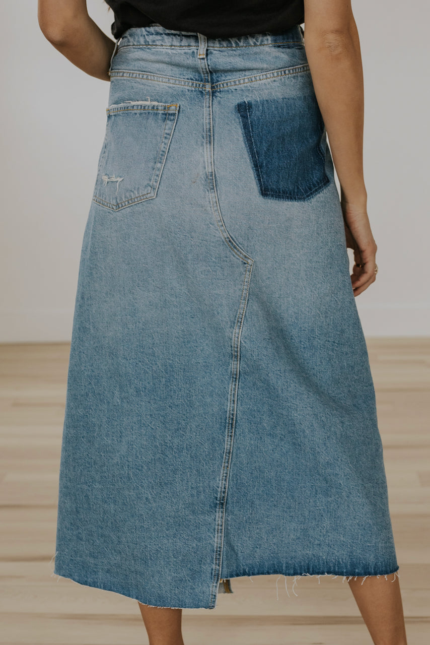 Free People Reworked Denim Midi Skirt
