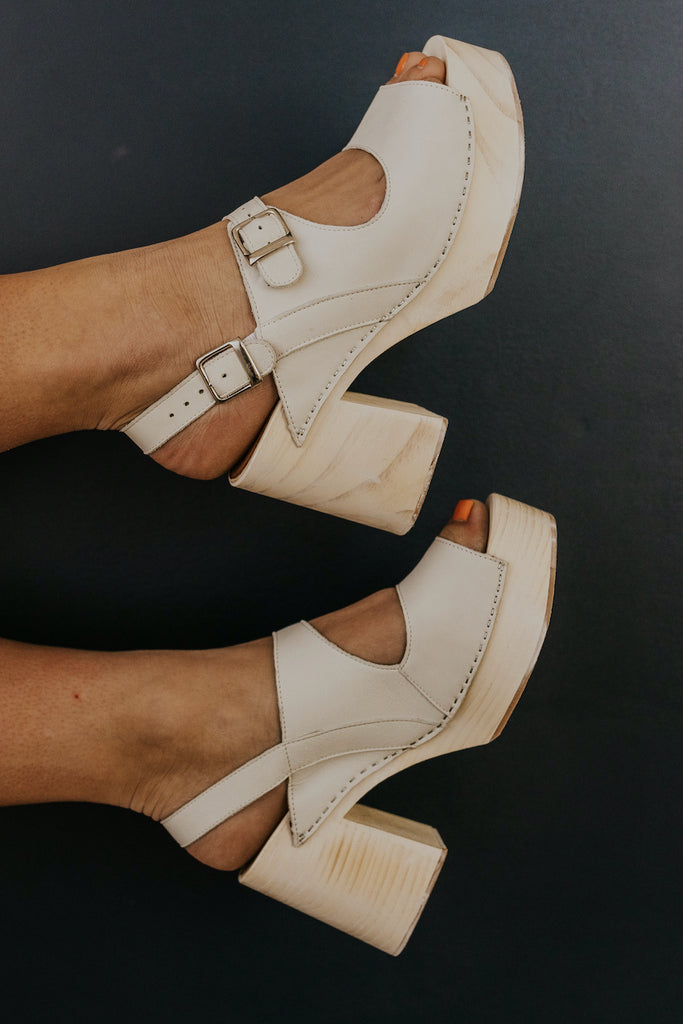 White strappy clogs  ROOLEE
