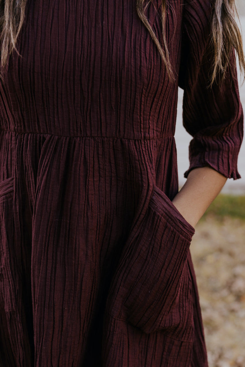 Maroon patch pocket dress | ROOLEE