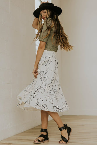 Neutral pleated midi skirt | ROOLEE