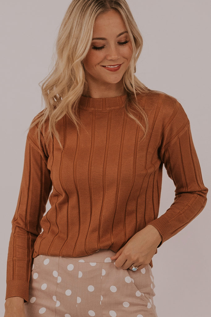 Long sleeve brown tops | ROOLEE