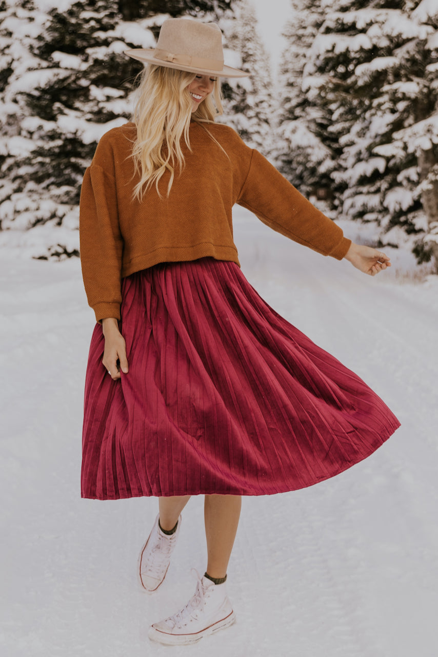 Red Midi Skirt | ROOLEE