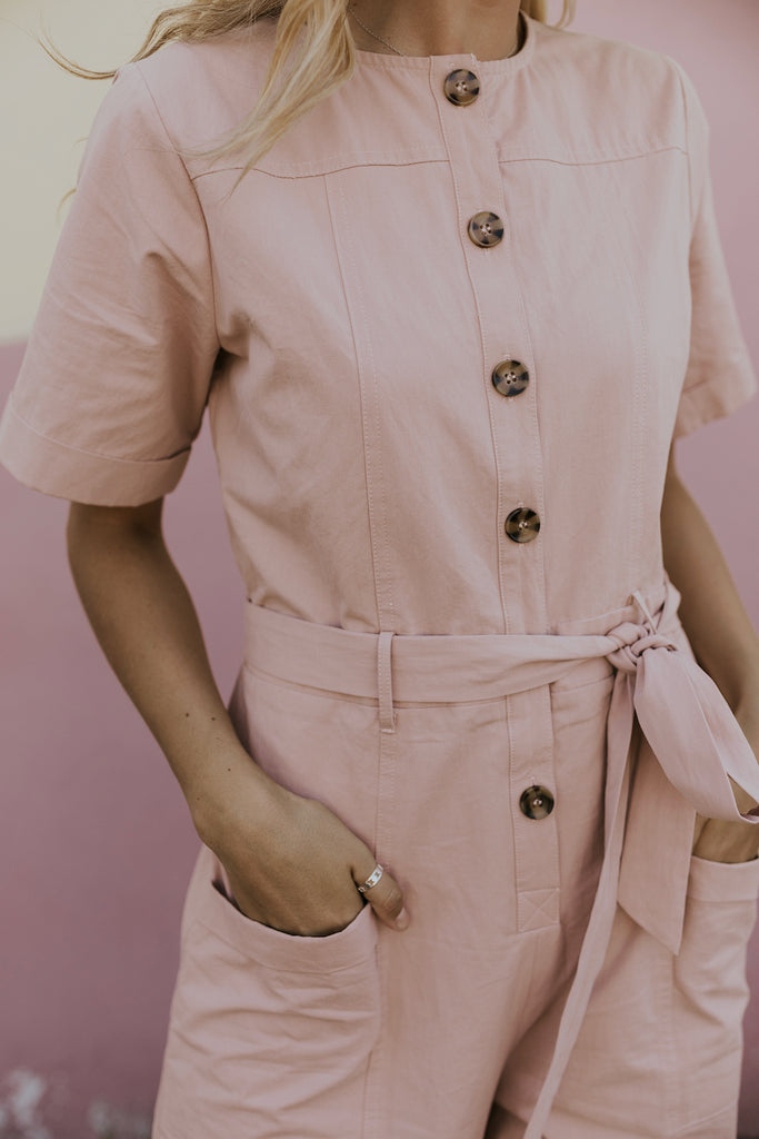Pink Button Up Jumpsuit | ROOLEE