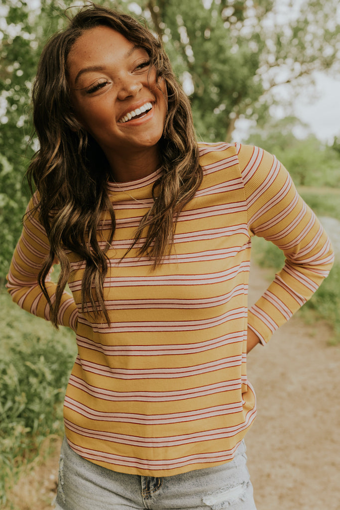 Mustard and Pink Striped Loungewear | ROOLEE