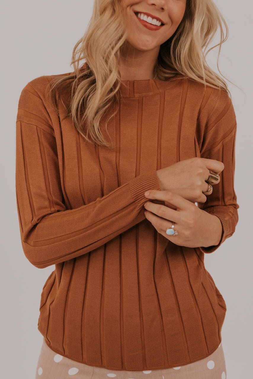 Textured spring rust sweaters | ROOLEE