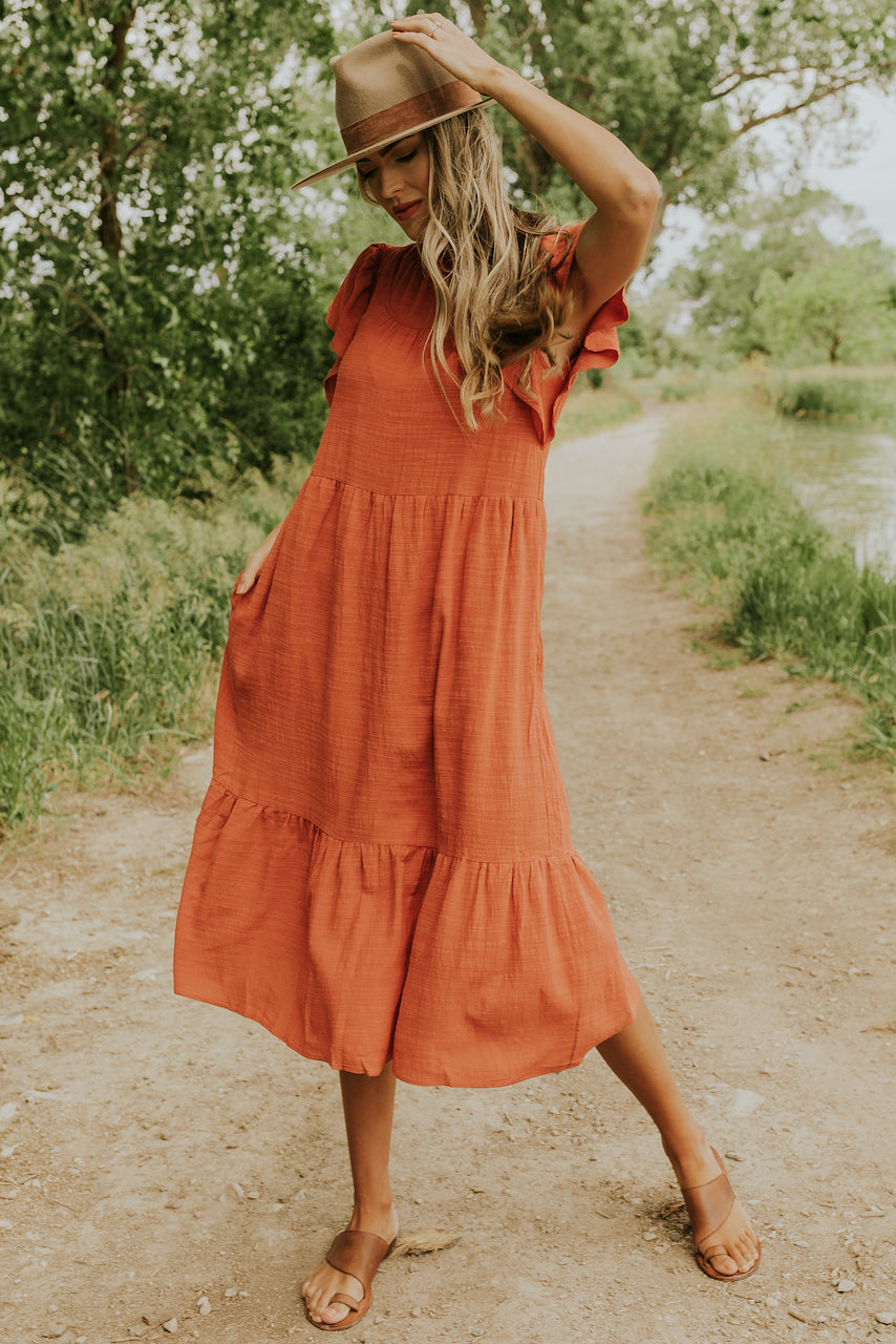 Red rust pocket ruffle dress | ROOLEE
