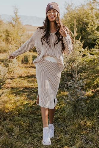White and tan stripe skirt set | ROOLEE