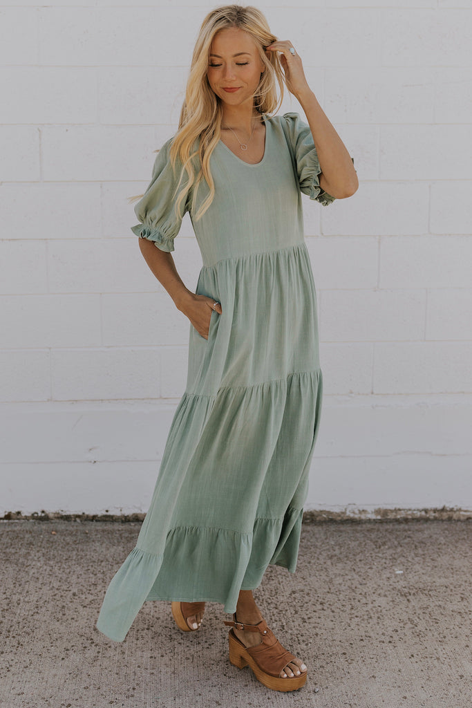 Sea green ruffle dress | ROOLEE