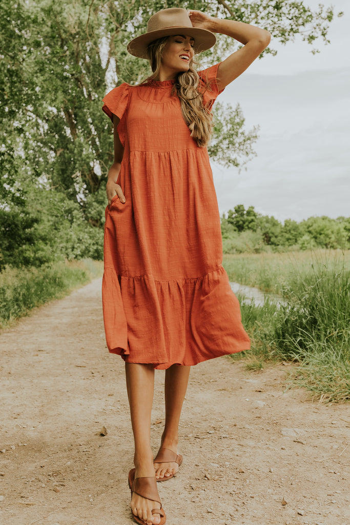 Red ruffle dress | ROOLEE