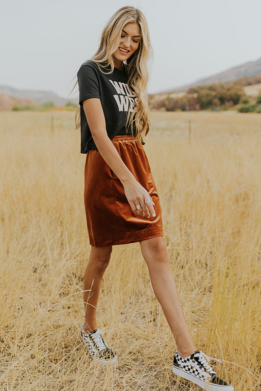 Red velvet skirt and graphic top | ROOLEE