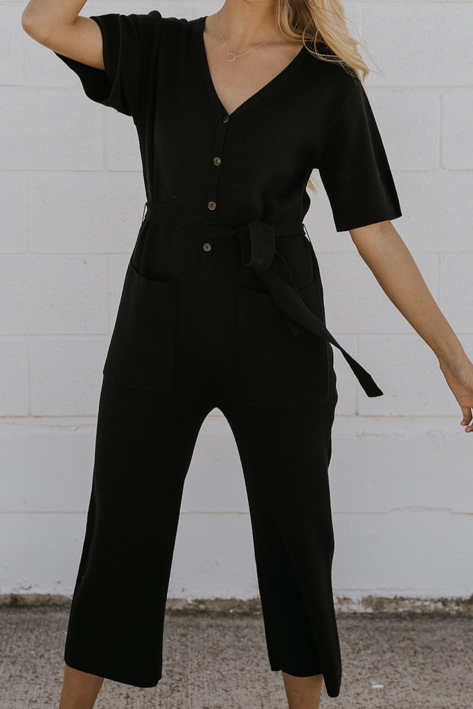 Short Sleeve Knit Black Jumpsuit | ROOLEE