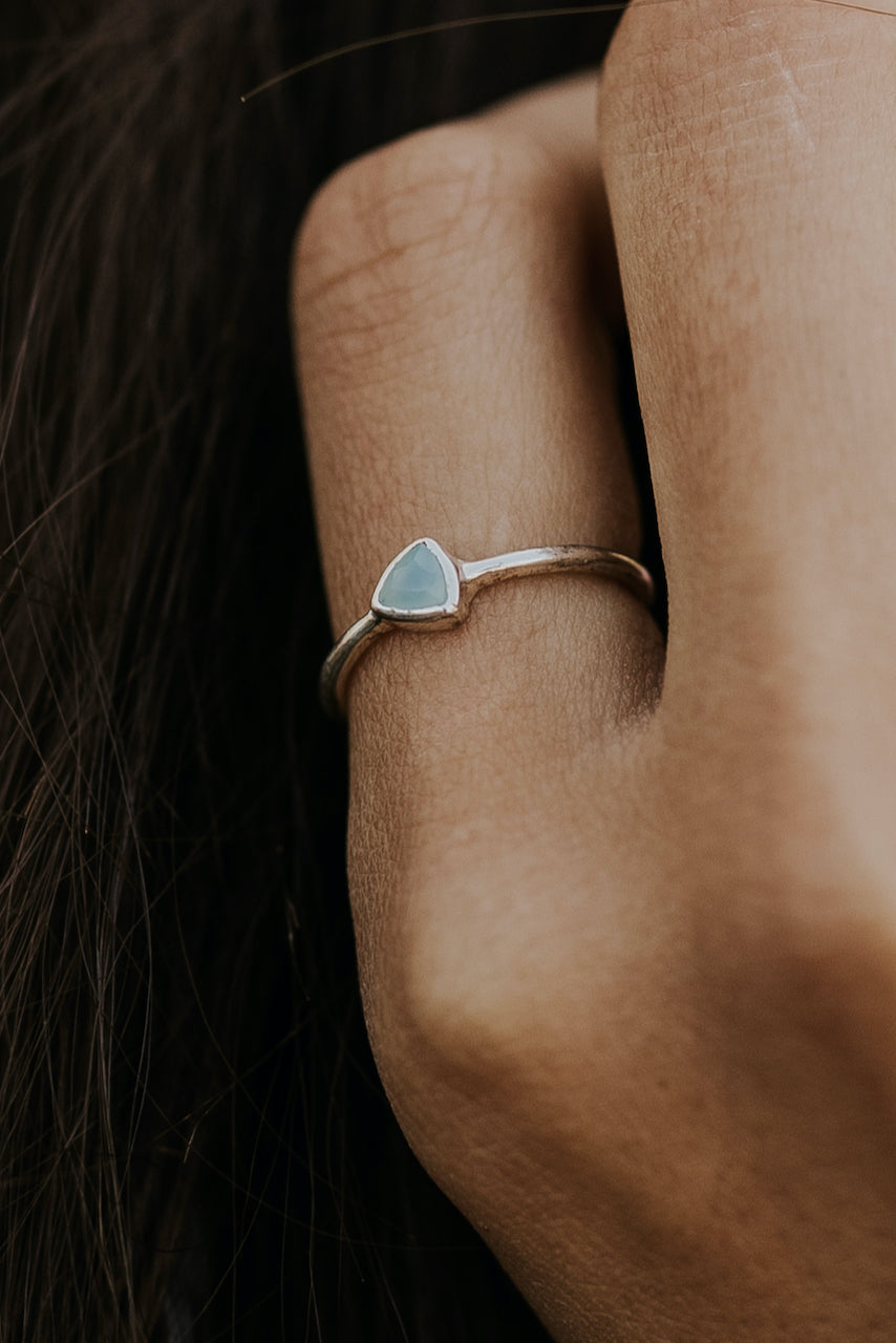 Pura Vida Triangle Chalcedon Ring