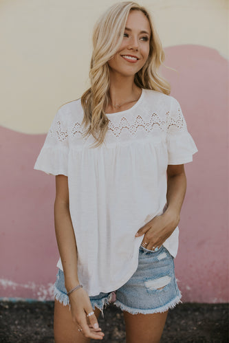 White embroidery top | ROOLEE