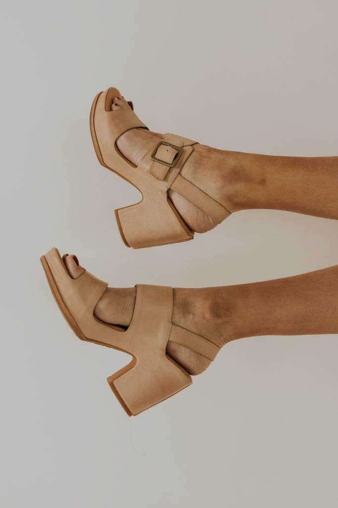 Natural Heeled Sandals | ROOLEE