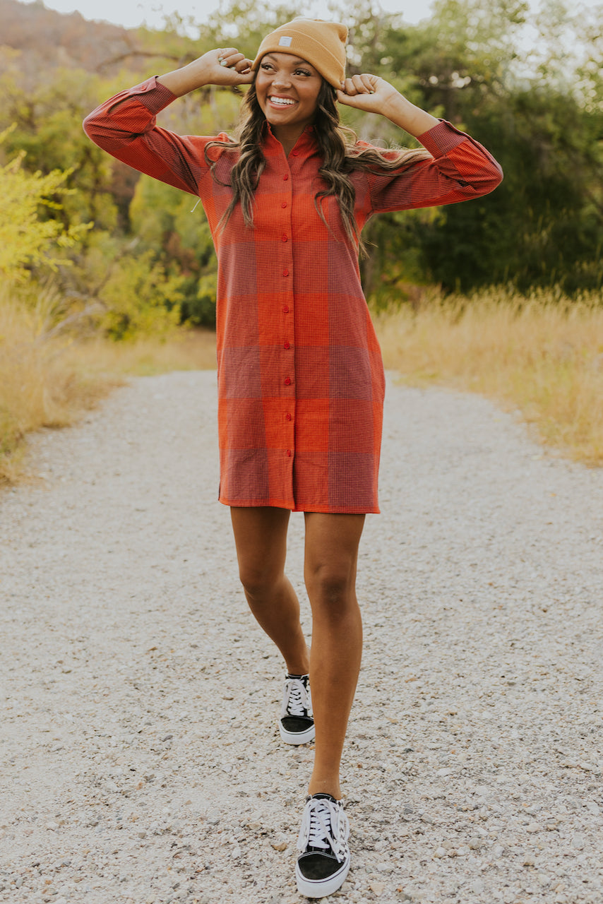 Red plaid button up mini dress | ROOLEE