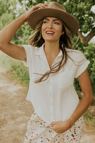 White crop button up | ROOLEE