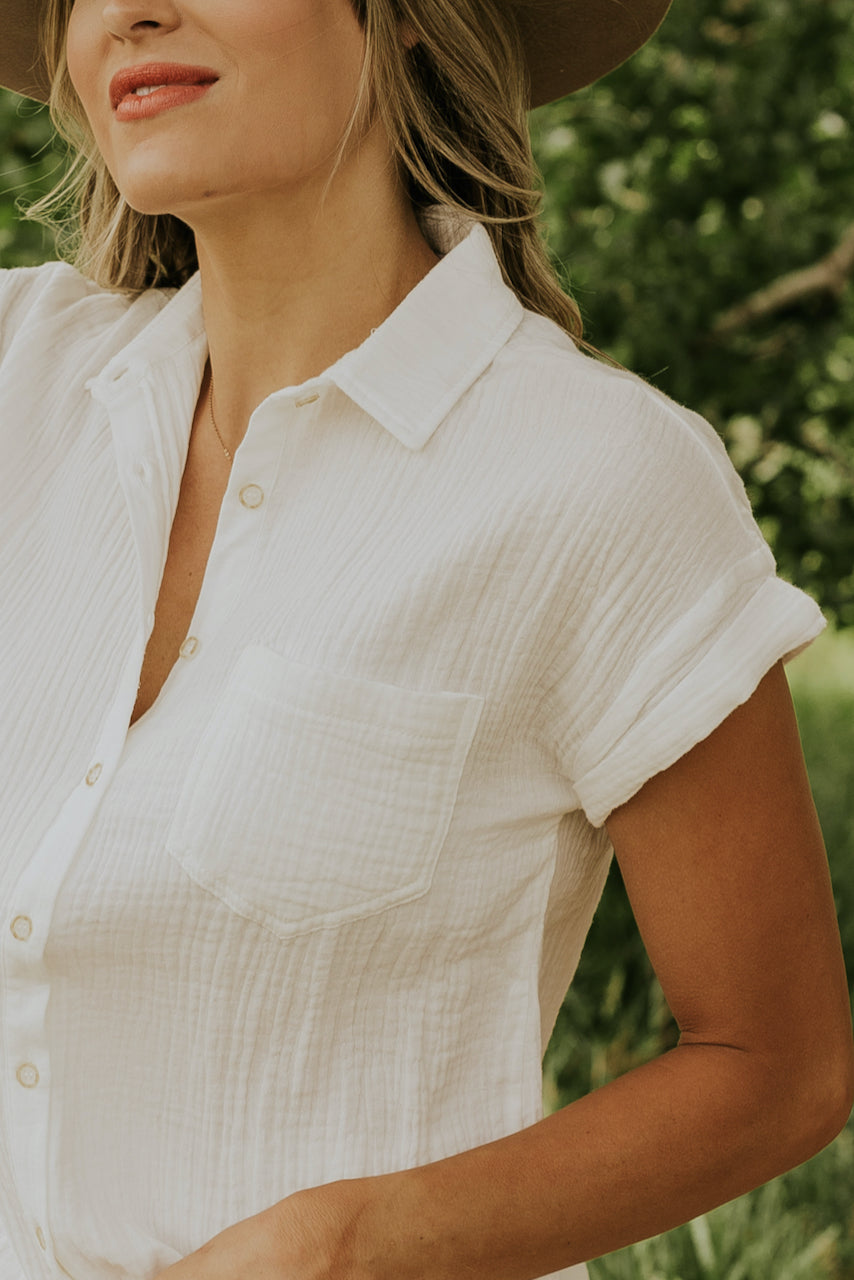 Crepe button down blouse | ROOLEE