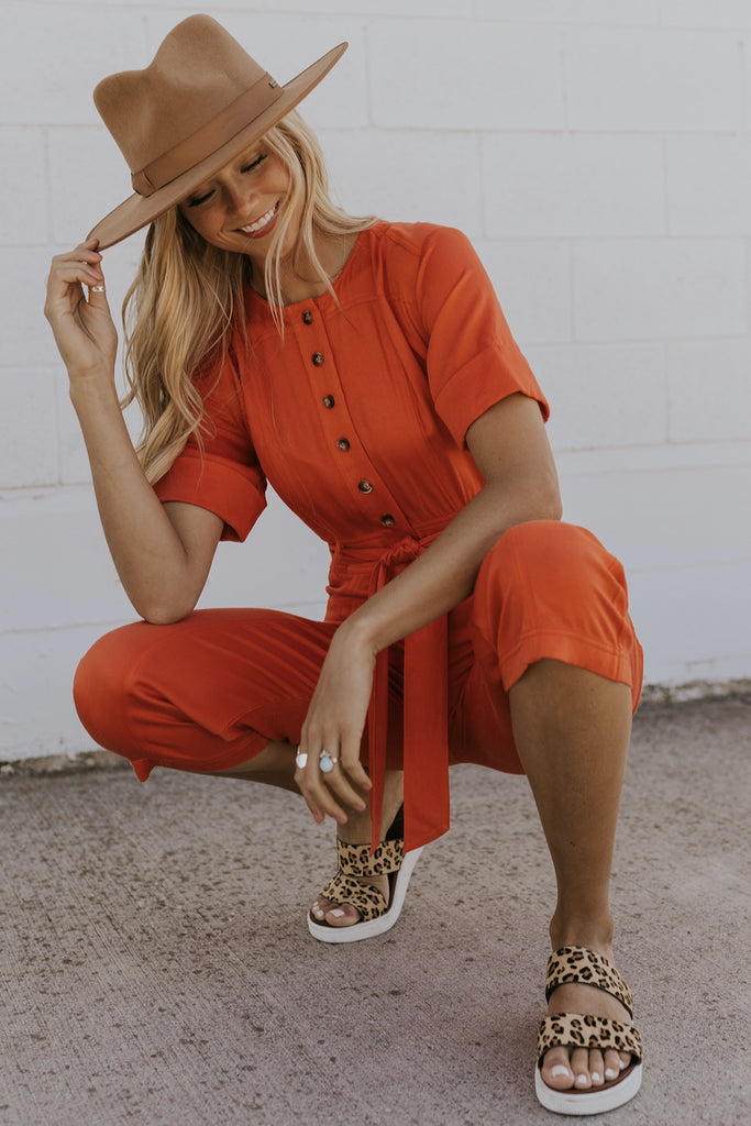 Poppy Red Waist Tie Jumpsuits | ROOLEE