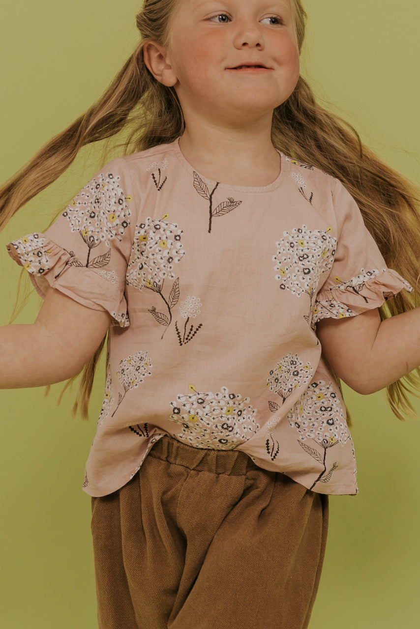 Girls Pink Floral Top | ROOLEE