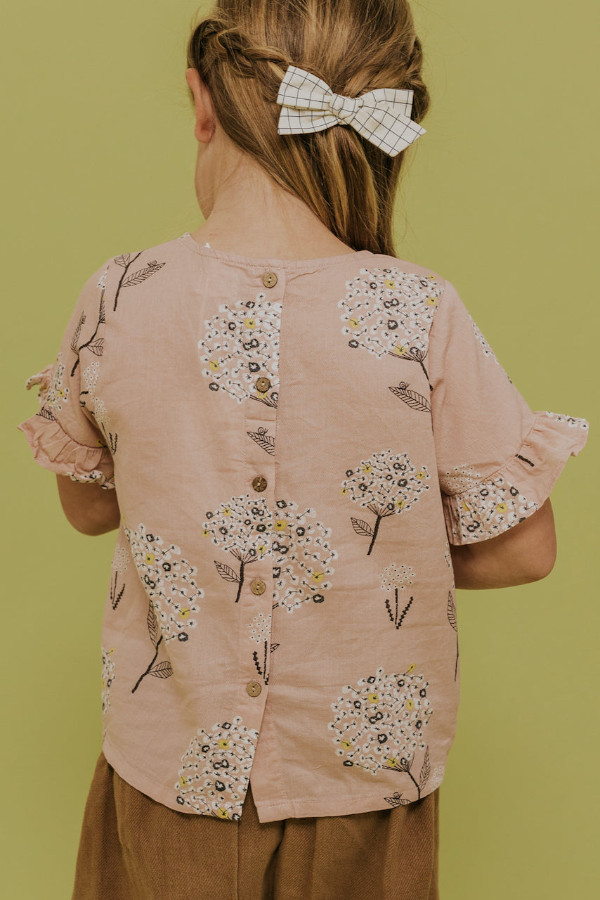 Girls Buttoned Floral Top | ROOLEE