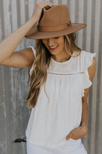 White flutter sleeve top | ROOLEE