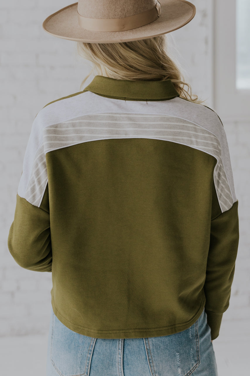 Green long sleeve retro pullover for women | ROOLEE