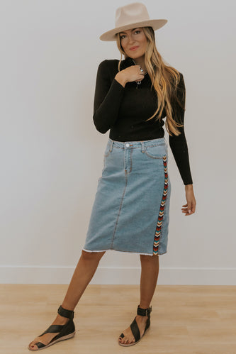 Retro denim skirt | ROOLEE