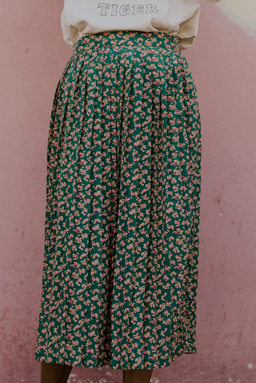 Pleated Spring Floral Skirt in Green | ROOLEE