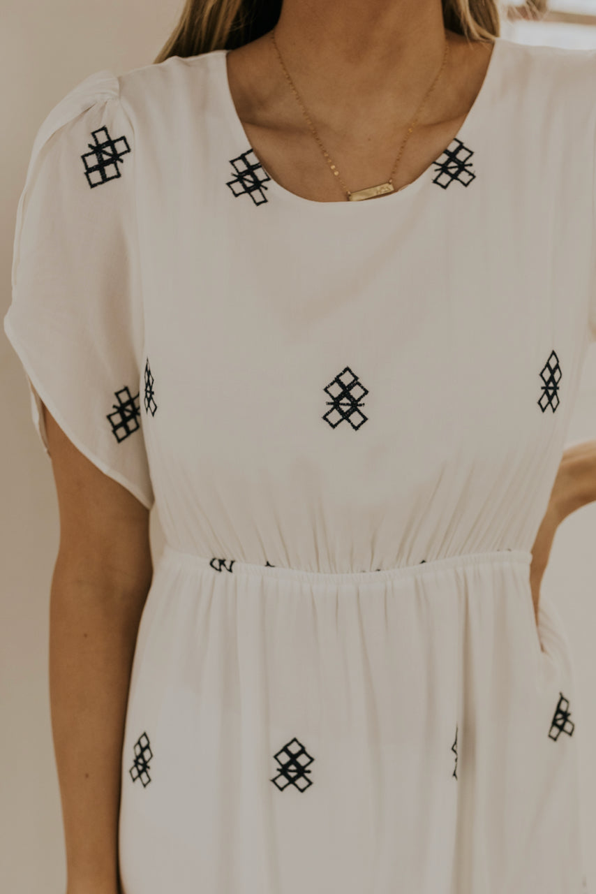 White embroidered maxi dresses | ROOLEE