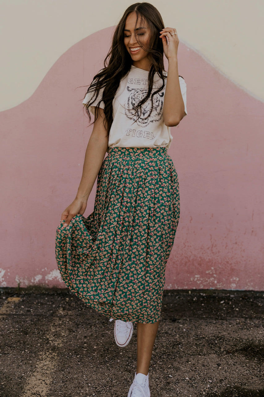Midi Skirts for Women Floral Print | ROOLEE