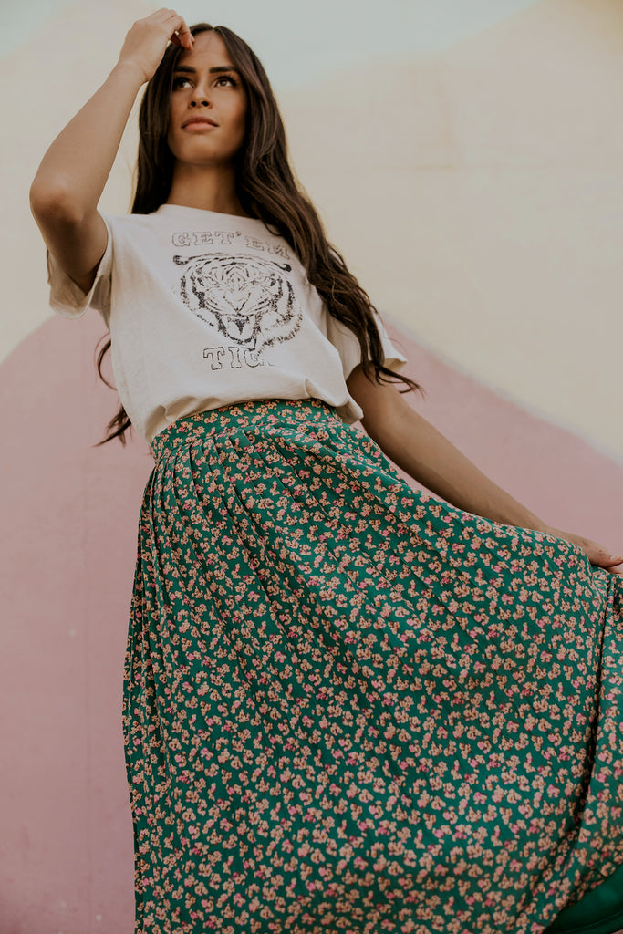 Green Floral Midi Skirt | ROOLEE