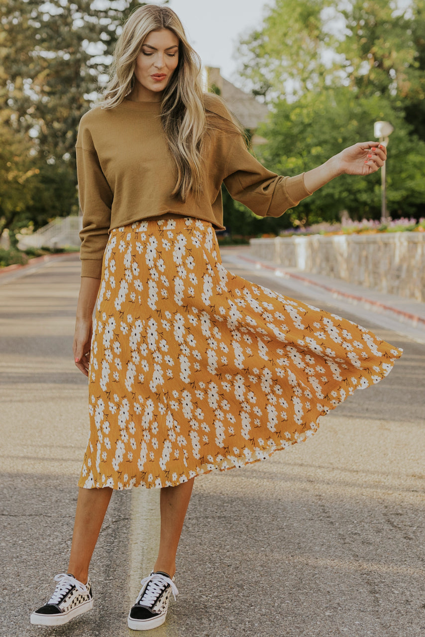 Cheap floral mid skirt | ROOLEE