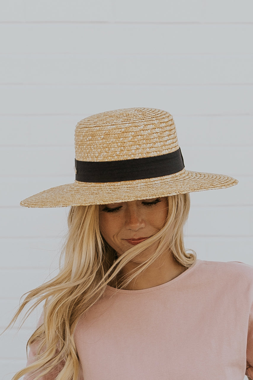 Faye Straw Boater Hat Short Brim