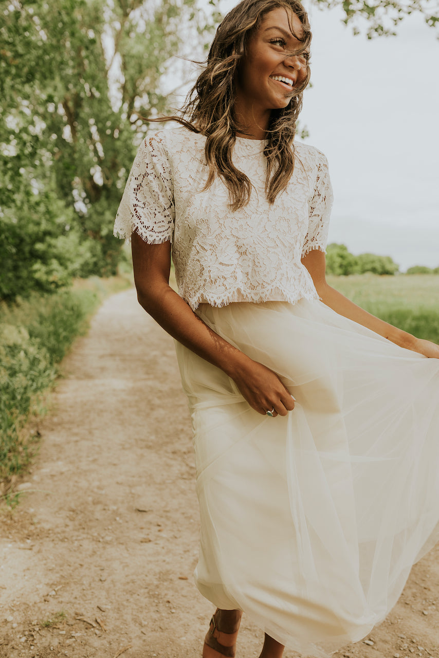 Modest eyelash lace wedding top | ROOLEE