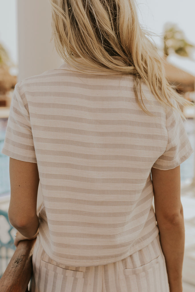 Spring Stripe Button Up Top | ROOLEE