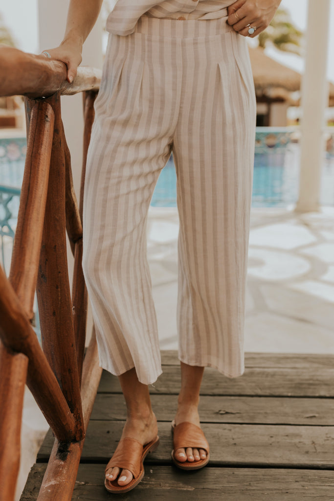 Cropped Striped Linen Pants | ROOLEE