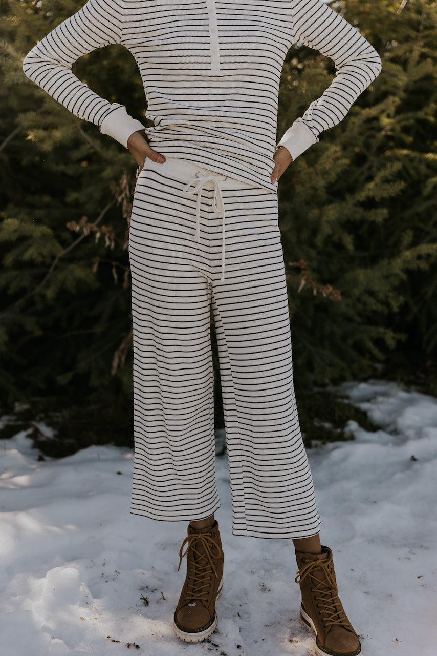 Black and white stripe loungewear set | ROOLEE