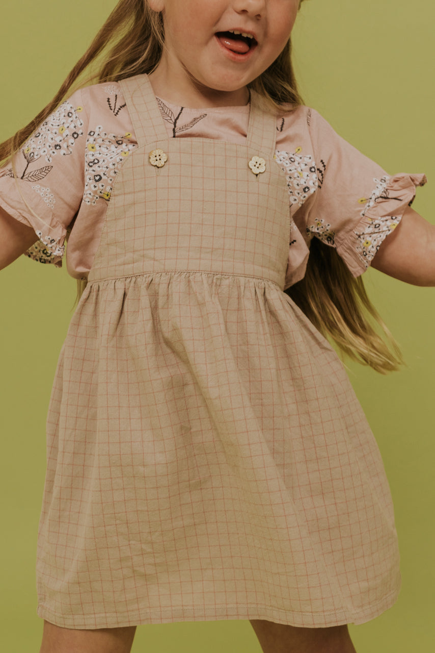 Girls Gridline Overall Dress | ROOLEE