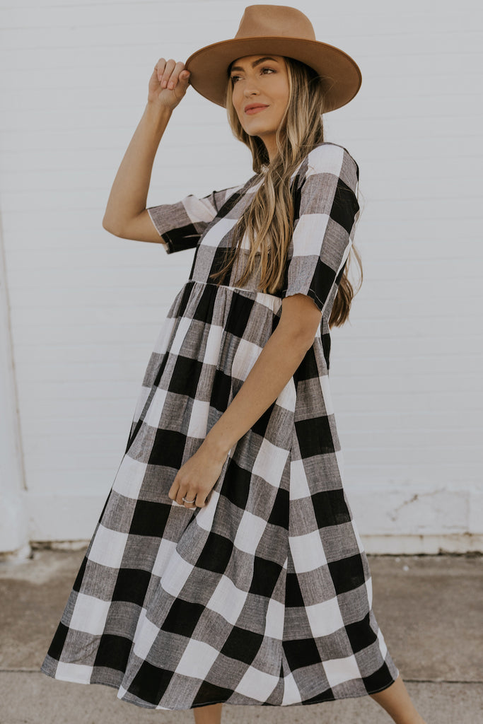 Black and White Plaid Dress | ROOLEE